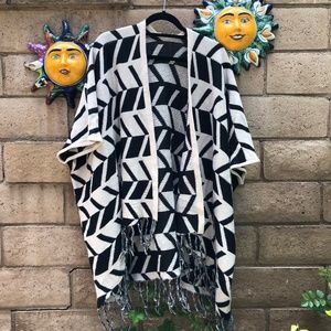 Sweaters - Black & Cream Poncho Sweater Throw with Tassels